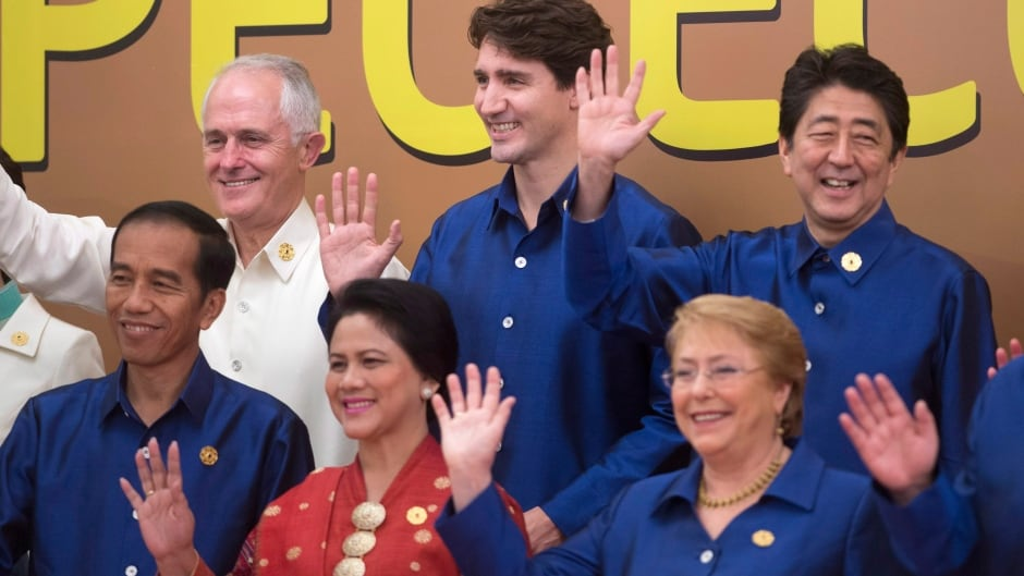 Prime Minister Justin Trudeau, top centre, takes part with other leaders in the APEC leaders official photograph at the APEC Summit in Danang, Vietnam Friday November 10, 2017.