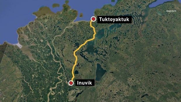 Inuvik-Tuktoyaktuk map