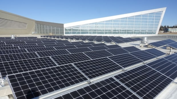 A solar photovoltaic panel array has been installed on the roof of the Telus Spark science centre that officials say will produce up to 128 megawatts of electricity per year.