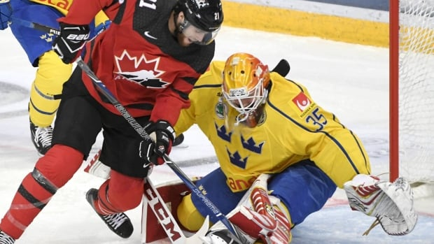 Canada's Quinton Howden tries to score past Sweden's goalie Magnus Hellberg during a Karjala Cup match in Helsinki, Finland, on Friday.
