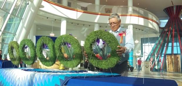 Elder Sidney Kay at FNUniv Remembrance Day service 2017
