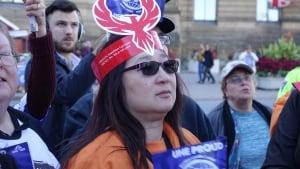 Federal worker protestor