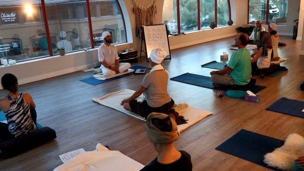 McEwan as yoga teacher