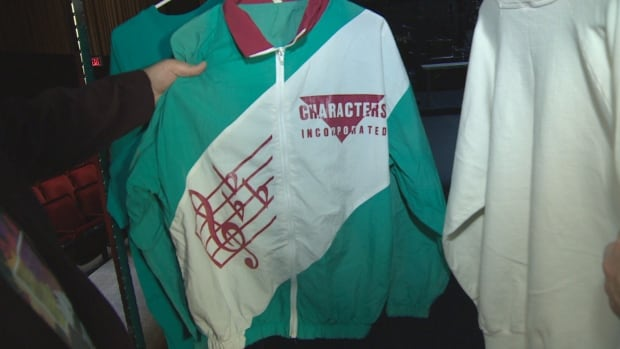 An old jacket worn by members of song and dance group Characters Inc., which originated as an after-school drama group at Nashwaaksis Junior High in Fredericton in the 1980s.