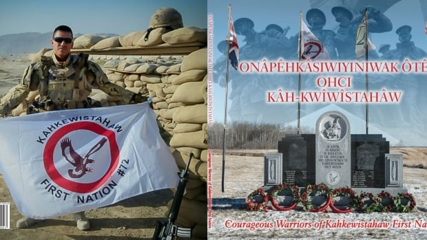 A new book put together by Ted Whitecalf documents the veterans of Kahkewistahaw First Nation and will be launched on Saturday to coincide with the community's Remembrance Day service. Here the front and back of the book cover is displayed.