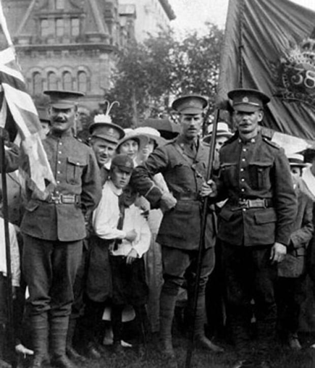 Members of the 38th Battalion on Parliament Hill