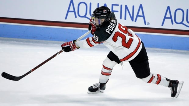Canada's Marie-Philip Poulin, seen in this file photo from Oct.) scored a goal and added an assist to help Canada defeat Finland at the Four Nations Cup on Friday.