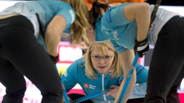 Skip Shannon Kleibrink, pictured in this photo from Tuesday, will be among those playing in Friday's tiebreakers at the Olympic pre-trials in Summerside, P.E.I.