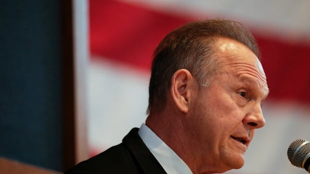 U.S. Senate candidate Roy Moore's speech in Alabama on Saturday was his first public appearance since the Washington Post reported that four women said he pursued them when they were between the ages of 14 and 18 and he was in his 30s.