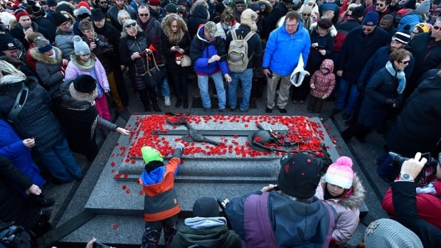 People lay poppies on the Tomb of the Unknown Soldier following the National Remembrance Day Ceremony at the National War Memorial in Ottawa.