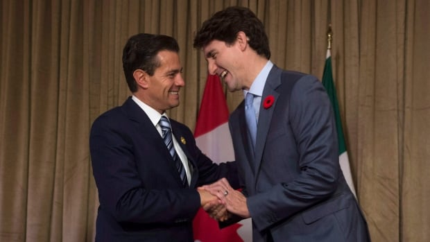 Prime Minister Justin Trudeau meets with Mexican President Enrique Pena Nieto during a bilateral meeting at the APEC summit in Danang, Vietnam, on Friday.