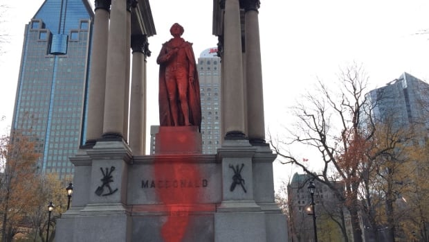 The John A. Macdonald statue in downtown Montreal was vandalized overnight.