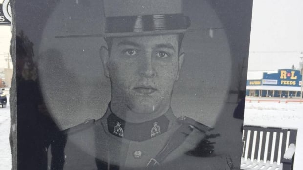A granite etching of Marc Bourdages, 26, erected in Spiritwood, Sask. in honour of one of two officers killed by a gunman in 2006.