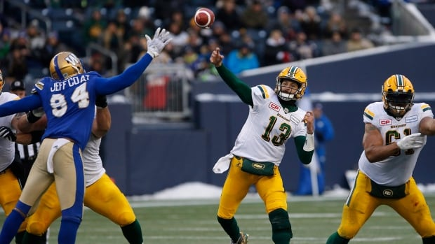 Edmonton quarterback Mike Reilly throws to an open receiver during the Eskimos' 39-32 win in the Western semifinal against the Winnipeg Blue Bombers.