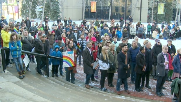 Hundreds rallied at the McDougall Centre in Calgary in support of Bill 24.