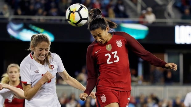United States forward Christen Press right, heads the ball as Canada forward Janine Beckie, left, looks on during the first half the the Americans' 3-1 win in San Jose, Calif., on Sunday.