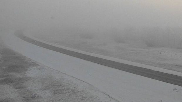 Visibility was reduced to about 200 and 800 metres, as seen in this Ministry of Highways webcam photo taken near Balgonie at 8:30 a.m. CST.