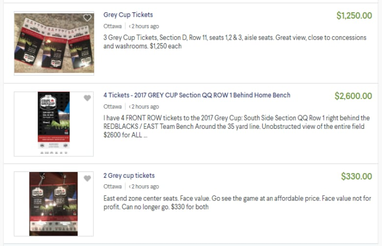 Looking for Grey Cup tickets? Dozens up for sale after Redblacks