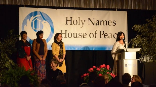 Speakers present at the Holy Names House of Peace Welcome Home dinner in 2016 at RBC Convention Centre.