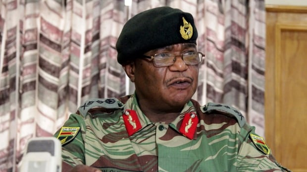 Gen. Constantino Chiwenga addresses a press conference in the capital Harare on Monday. Chiwenga criticized the instability in the country's ruling party caused by President Robert Mugabe's firing a vice-president.