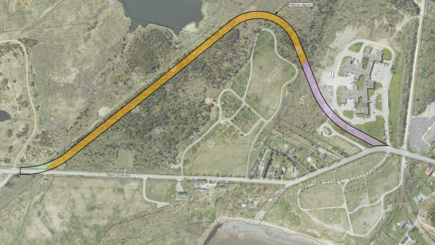 A permanent one-kilometre detour of Sand Cove Road would have to be built around Cedar Hill-Greenwood Cemetery, in lower right, to give access to homes and the popular Irving Nature Park in event of further slope failure near McLarens Beach.