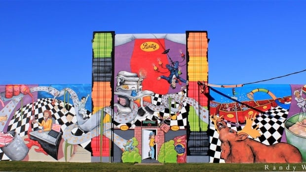 The new mural highlightng Purity Factories, on Blackmarsh Road.