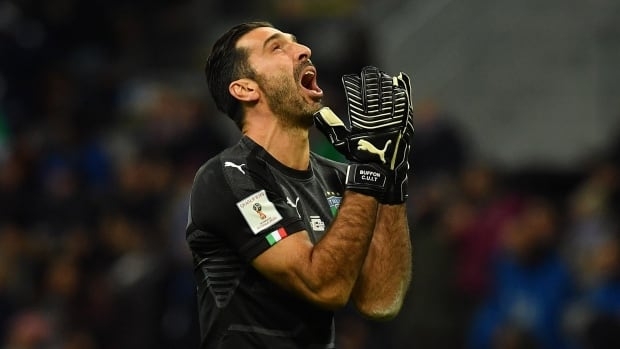 Italy goalkeeper Gianluigi Buffon shows his frustration during his team's 0-0 draw with Sweden Monday that eliminated them from next year's World Cup.