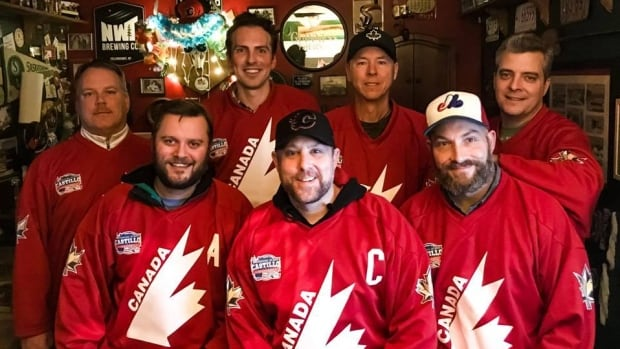 The Calgary Citizens recreational hockey team is headed to the Castillo International Hockey Tournament in Costa Rica this weekend. Back row from left to right: Kyle Kemp, Kyle Bakx, Todd McDermott and Chris Epp. Front row from left to right: Jordan Miller, Erin Collins, Ken Trudeau. Missing from the photo is goalie Pat Carroll.