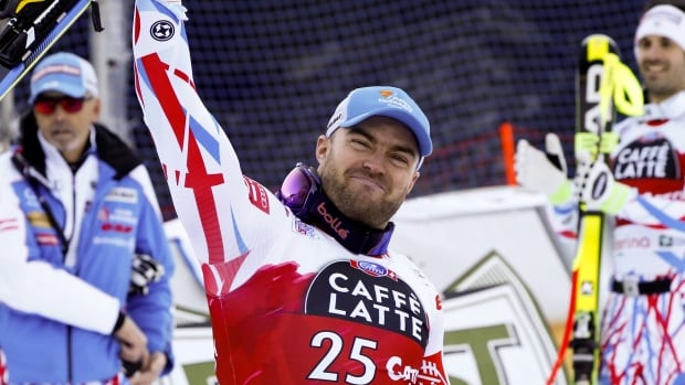 In this Tuesday, Dec. 29, 2015, file photo, France's David Poisson celebrates his third place after completing a men's World Cup downhill in Santa Caterina Valfurva, Italy.