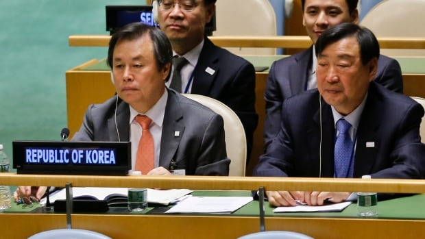 Delegates from South Korea listen to discussions in the United Nations General Assembly concerning a worldwide truce during next year's Winter Olympics in Pyeongchang.