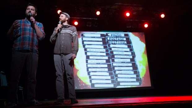 Joe Pickett, left, and Nick Prueher guide audiences through VHS relics at the Found Footage Festival.
