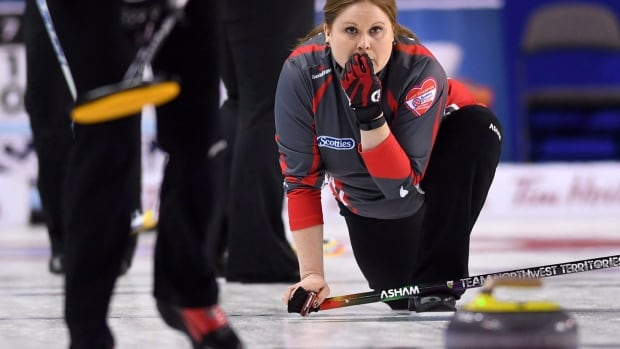 Northwest Territories' Kerry Galusha, pictured above at the 2017 Scotties Tournament of Hearts, helped her team remain undefeated at the 2018 Canadian mixed curling championship on Monday.