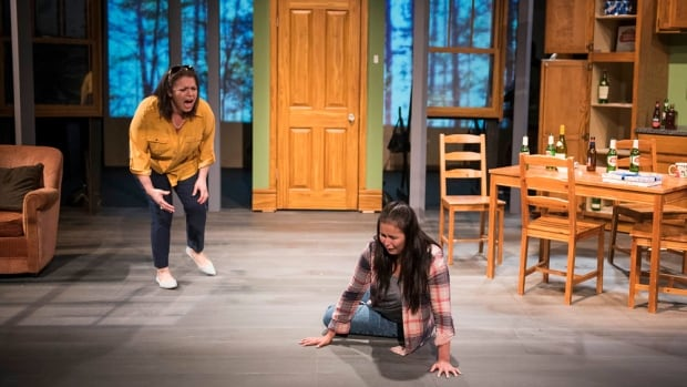 Chelsea Rose Tucker (Left) and Ashley Chartrand (Right) perform the play Only Drunks and Children Tell the Truth.