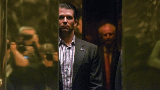 Donald Trump Jr. arrives at Trump Tower in New York City earlier this year. Private messages released by Trump Jr. show him responding to the WikiLeaks Twitter account three times.