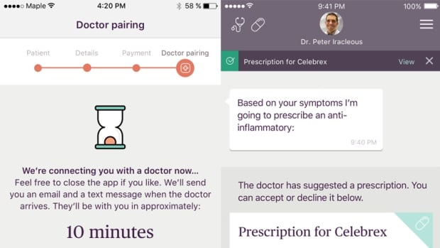 Maple provides diagnoses and prescriptions over a video call.