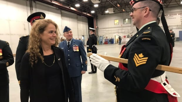 Julie Payette, Canada's Governor General, inspects troops with Joint Task Force North in Yellowknife.