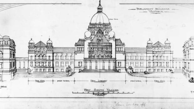 An architectural rendering, circa 1895, of the B.C. Parliament Building.