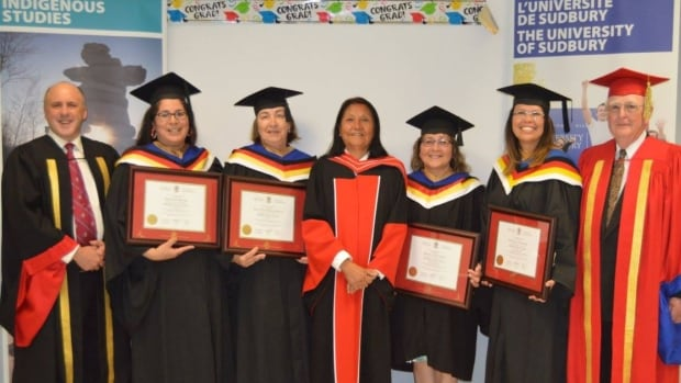 This picture is from the 2016 graduation in Moose Factory, where four students graduated with a Bachelor of Arts in Indigenous Studies.