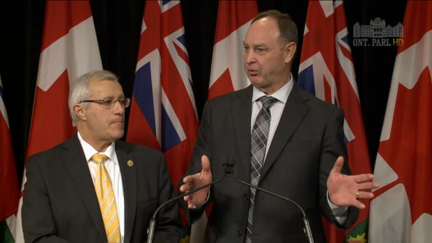 Progressive Conservative critics Vic Fedeli (left) and John Yakabuski (right) discuss policy promises on Ontario's minimum wage.