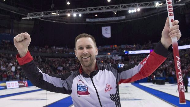 Skip Brad Gushue, pictured above at the men's world curling championships, got off to a winning start at the Grand Slam National.