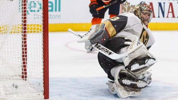 Vegas Golden Knights goalie Maxime Lagace was pulled after allowing seven goals in the team's 8-2 loss to the Edmonton Oilers on Tuesday.