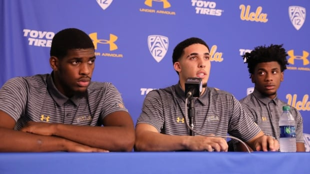 UCLA suspended basketball players LiAngelo Ball, centre, and teammates Cody Riley, left and Jalen Hill, right, for their involvement in a shoplifting incident in China.