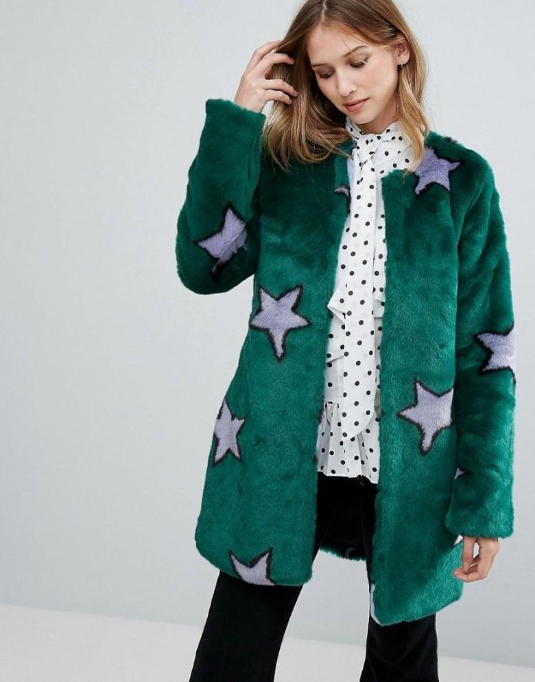 1743db8114e3 Urbancode Starry Faux Fur Coat, $132.93, www.asos.com