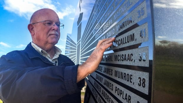 The name of Allen Martin's brother Glenn is etched into the monument at Westray Miners Memorial Park in New Glasgow.
