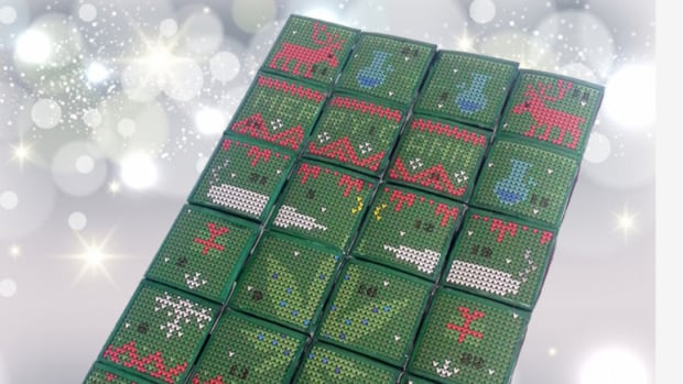 This advent calendar is for adults only. Every door on this box opens to reveal a marijuana treat.