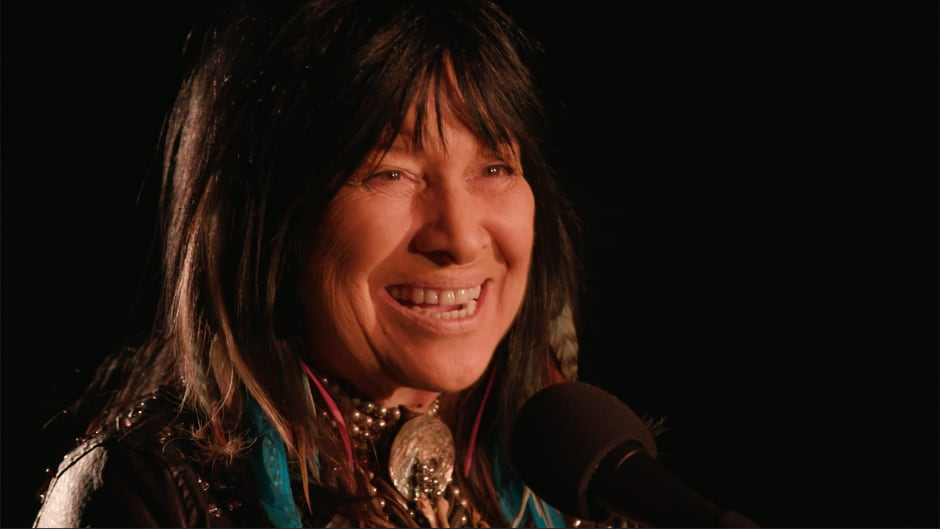 Buffy Sainte-Marie performing live in the q studio in Toronto, Ont.