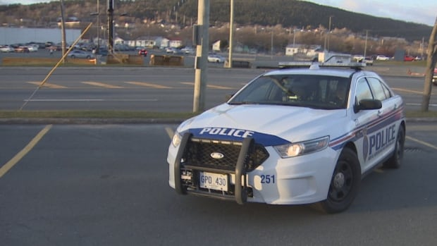 An RNC police cruiser is seen parked outside a strip mall on Kenmount Road.