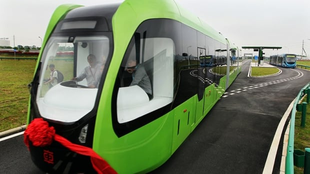 The world's first trackless trains are being tested in Zhuzhou, China but could the land trams work on Edmonton roads?