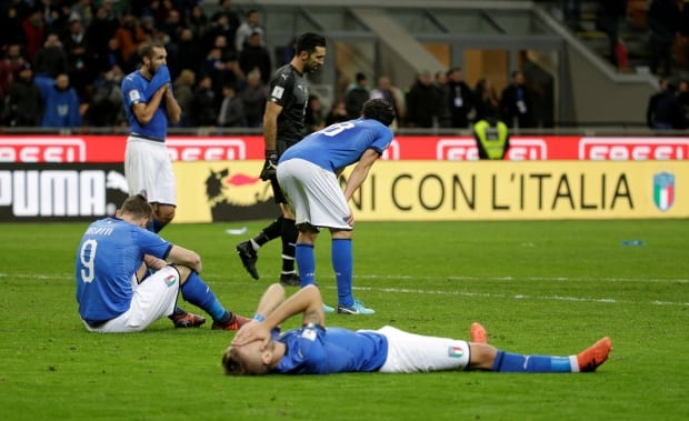 SOCCER WORLD CUP ITALY FAILS TO QUALIFY VS SWEDEN