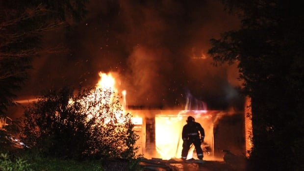 A fire broke out in the 14100 block of Sunridge Place in Surrey early Friday morning.